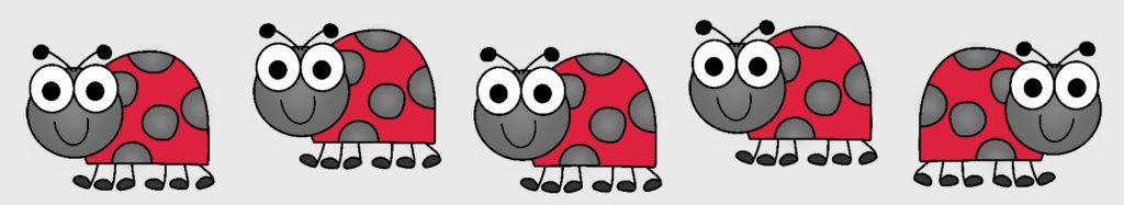 row of ladybugs